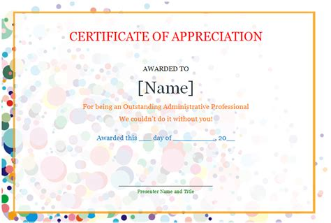 certificate of appreciation save word templates