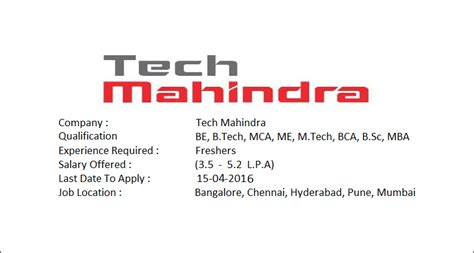 Salary Package For School Mba by Tech Mahindra Hiring Freshers Salary Package 3 5 5 2