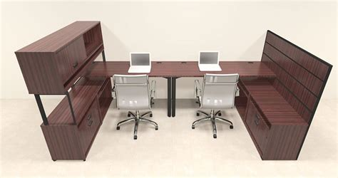 2 Person L Shaped Desk Two Person Modern L Shaped Workstation Office Desk Set Ba S4 Ebay
