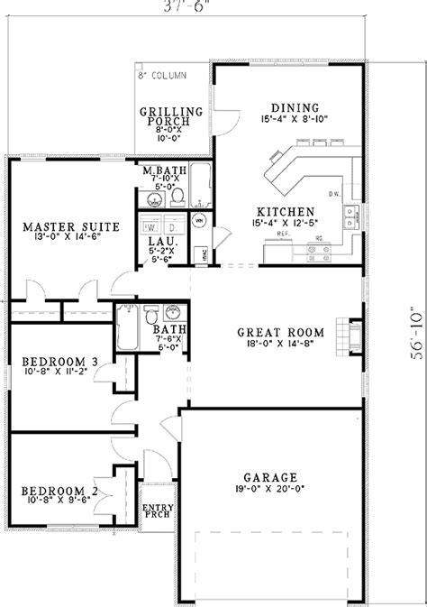 starter home floor plans starter home plan with options 59780nd architectural