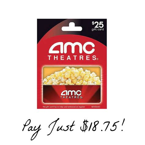 25 amc theatres gift card just 18 75