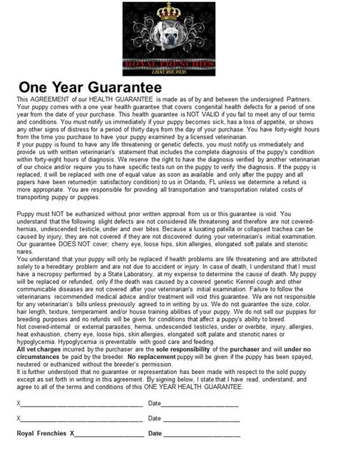 puppy health guarantee health guarantee
