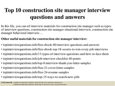 top 10 construction site manager questions and