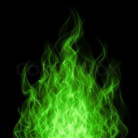 Graphic Design Jobs From Home by Green Toxic Fire Flame On Black Background Stock Photo