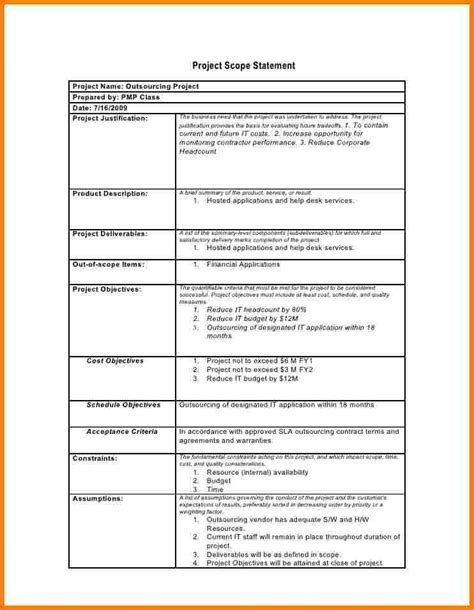 project scope statement template business template