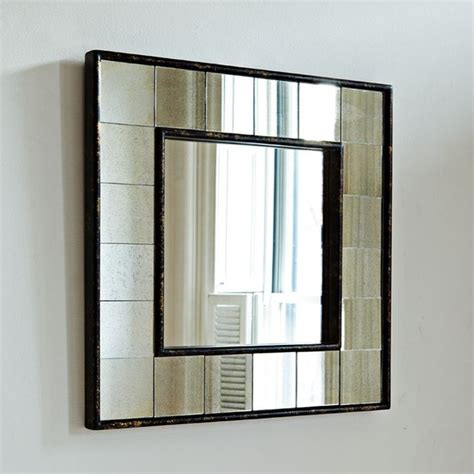 modern wall mirror antique tiled square wall mirror modern tile by west elm