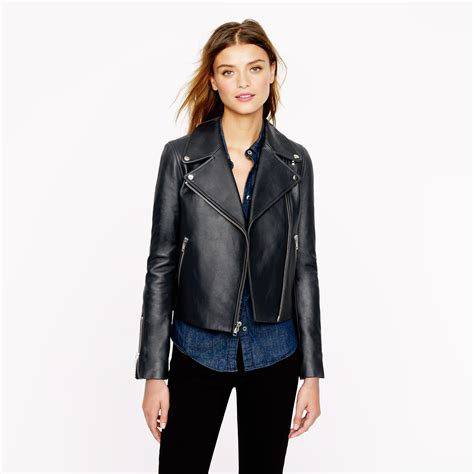 leather moto jacket j crew collection leather moto jacket in blue navy lyst