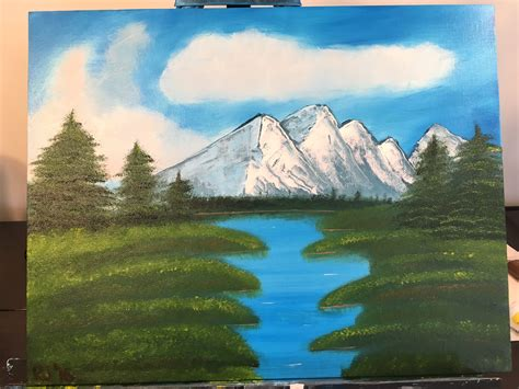bob ross painting water reflections painting