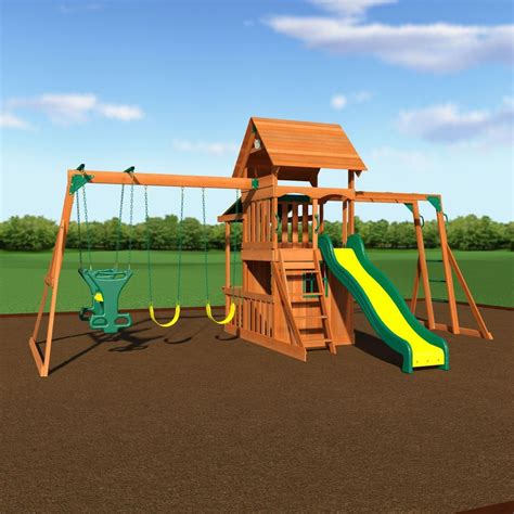 wooden outdoor swing set swing set toy playhouse playset with slide club house