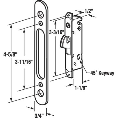 sliding door parts faceplate repair e 2164 mortise lock 4 5 8 quot steel 45 keyway rounded