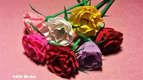crepe paper flower tutorial youtube how to make easy origami rose paper beautiful rose crepe