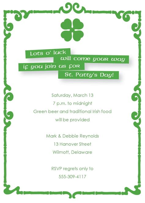 St Patrick S Day Invite S Day Invitation Template