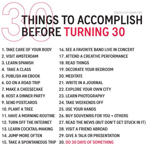 30 amazing things to do before turning 30 a bucket list