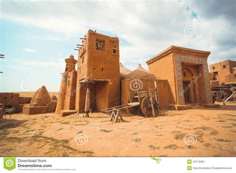 Desert House Plans village of the ancient people in the desert stock photo