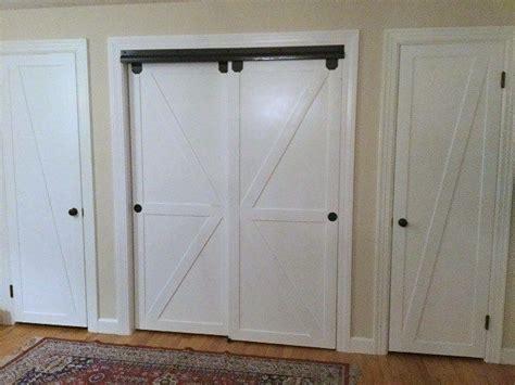 bypass closet doors  sliding faux barn