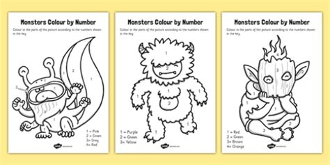 monsters colors monsters colour by number monsters colour number numbers