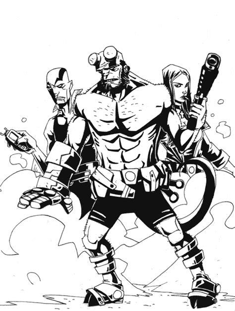 hellboy 5 superheroes printable coloring pages