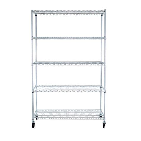Wire Shelf Wheels by Ecostorage 48 In X 24 In Nsf Chrome Color 5 Tier