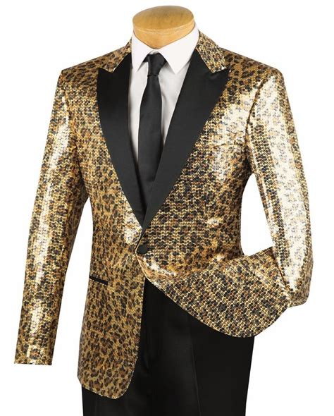 Trend Alert The Tuxedo Blazer by S Gold Cheetah Print Sequins 1 Button Peak Lapel