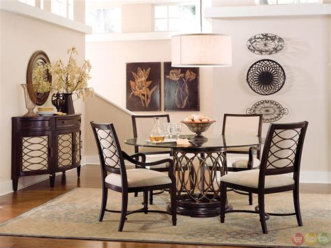 Intrigue Transitional Round Glass Top Table Chairs Dining Room Tables Sets