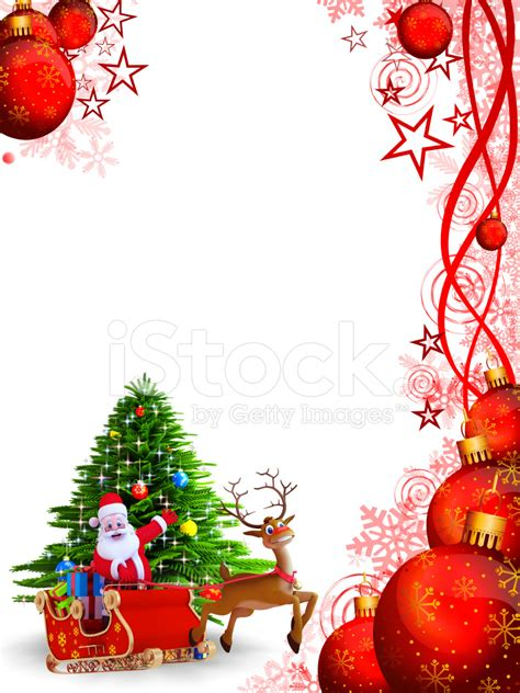 santa claus with his sleigh on red background stock photos