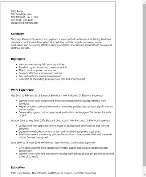 Electrical Superintendent Sle Resume by Electrical Supervisor Resume Template Best Design Tips Myperfectresume