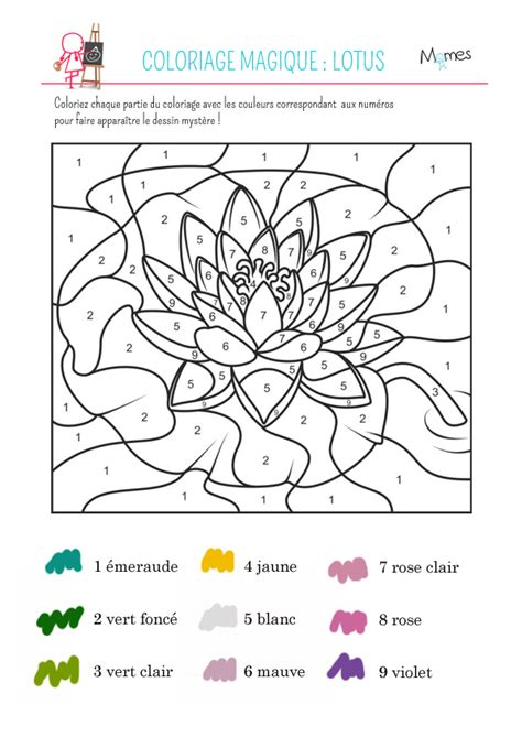 Coloriage Magique Le Lotus Momes Net Coloriage Magique De Noel Cm1 A Imprimer L