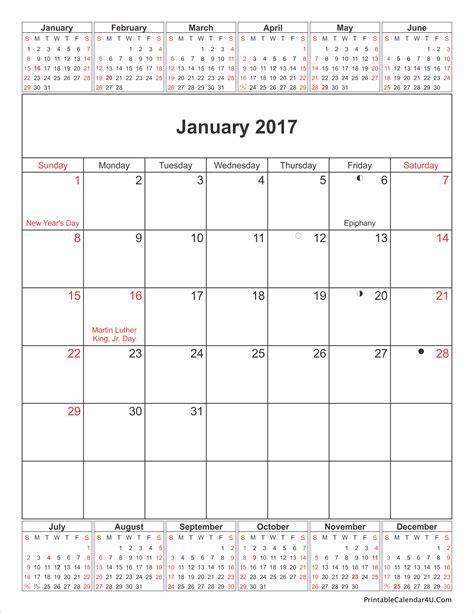 january 2017 calendar printable with holidays weekly 10 best january 2017 calendar printable with holidays and