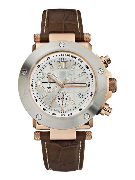 Gc Cronograph Leather guess collection gents brown leather chronograph