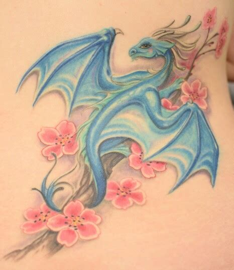 feminine dragon tattoos my feminine on a cherry blossom branch