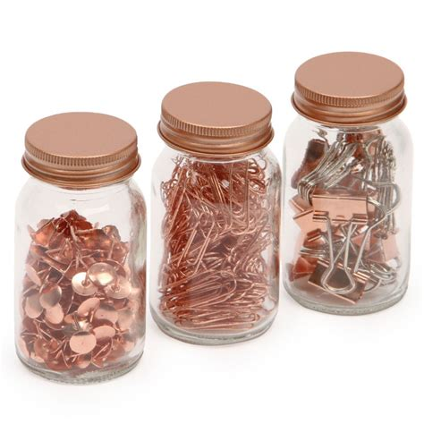 get organised desktop accessory jars set of 3