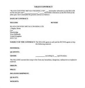 Sales Contract Template by Sle Sales Contract Template 7 Free Documents