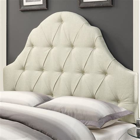 Pulaski Shaped Camel Back Button Tufted Upholstered Button Back Headboard
