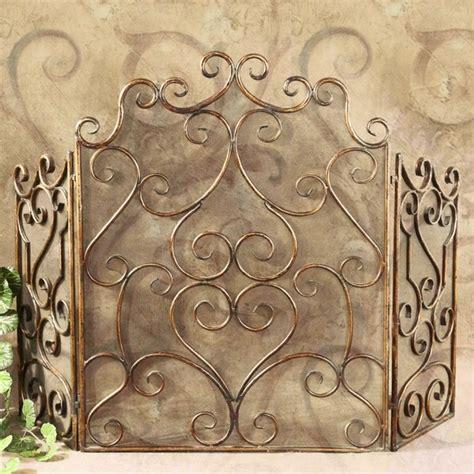 tuscan italian 3 panel scroll fireplace screen