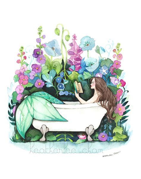 bathtub mermaid mermaid art reading in bathtub watercolor print