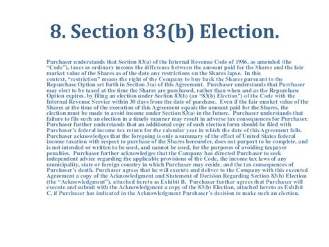 irc section 83 b election common stock purchase agreement with vesting by orrick llp