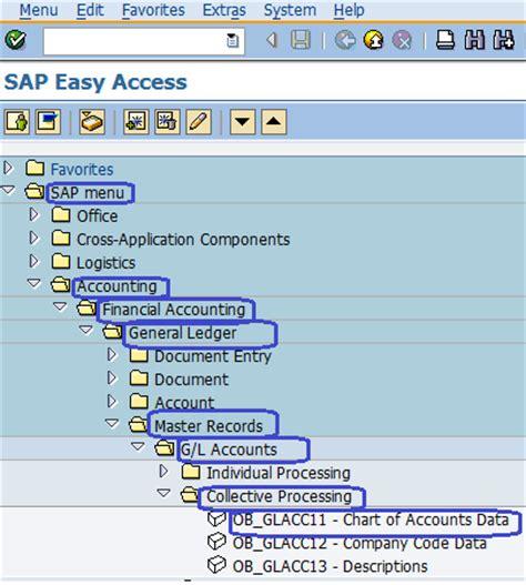 sap chart of accounts table mass maintenance chart of accounts data sap menu path