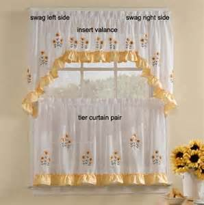 Sunflower Curtains Kitchen Sunnyside Sunflowers Swag Pr Sheer Kitchen Curtain 12 99