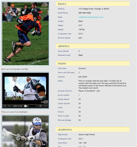 student athlete profile template captainu connects student athletes with college sports