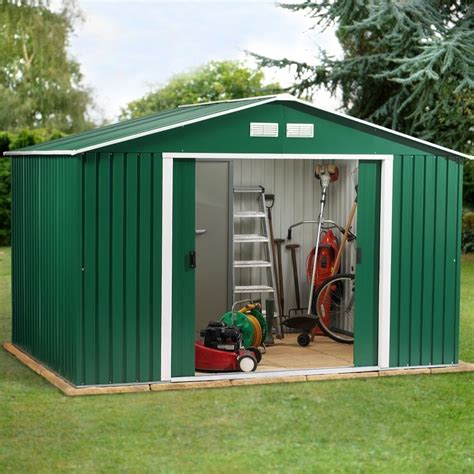 Garden Shed Metal by Metal Garden Shed 10x8ft In Green White Apex Roof Homegenies