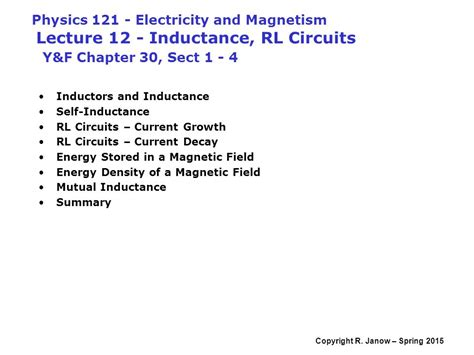 self inductance and rl circuits ppt physics electricity and magnetism lecture 12 inductance rl circuits y f chapter 30 sect