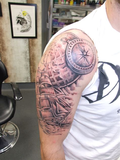 compass shoulder tattoo 23 stunning nautical shoulder tattoos
