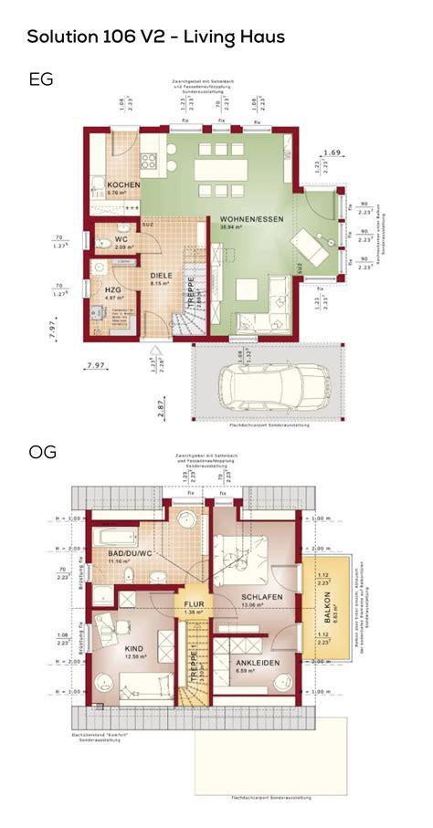 Grundriss Haus 100 Qm by Grundriss Einfamilienhaus Mit Carport Und Satteldach