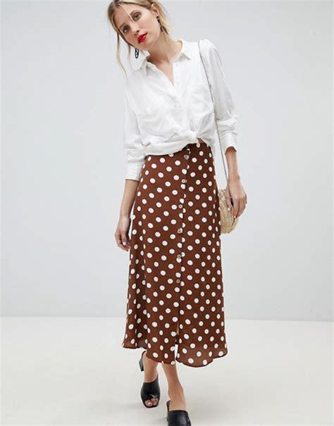 Skirt Mango Ori Murah Falda Bob mango falda midi con dise 241 o de lunares de mango