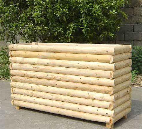 Log Planter Box by Log Cabin Pedestal Planter