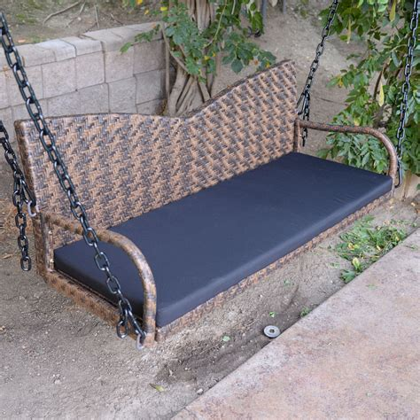 espresso wicker porch swing outdoor garden furniture