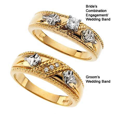 religious cross wedding ring set in yellow