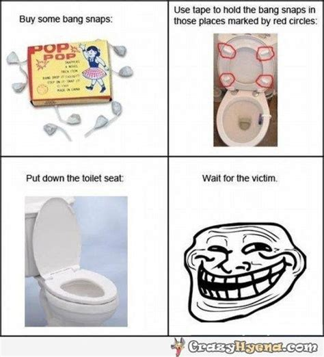 bathroom troll prank with bang snaps placed under the toilet seat