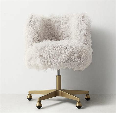 furry desk chair cover white faux fur acrylic legs desk chair