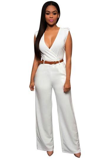 Baju Jumpsuit Wanita Import White Halter Stripe Size L 301371 womens casual plain v neck palazzo jumpsuit with belt white pink